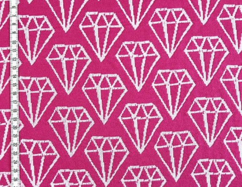 BIO 3D Jacquard Hamburger Diamonds Weiß Fuchsia