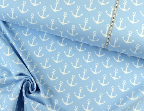 French Terry maritim ✩ Anchora ✩ Anker auf HELLBLAU