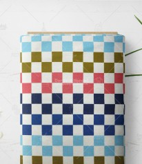 Sommersweat FRENCH TERRY ► Squares ◄ ALTROSA SENF HELLBLAU MARINE