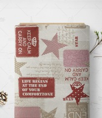 DEKOSTOFF Jacquard *Keep Calm and Carry on*  Große Sterne auf ROT CREME